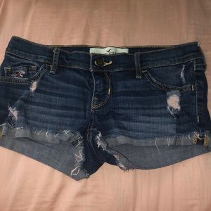 Hollister distressed shorts with pink detailing